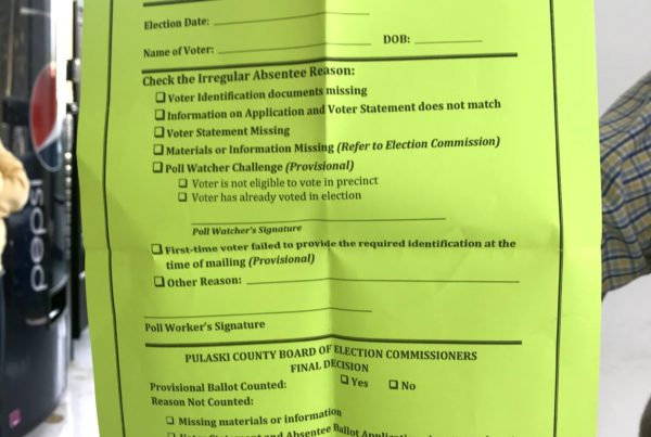 green sheets like this one play a role in Jim Sorvillo's election do-over request.